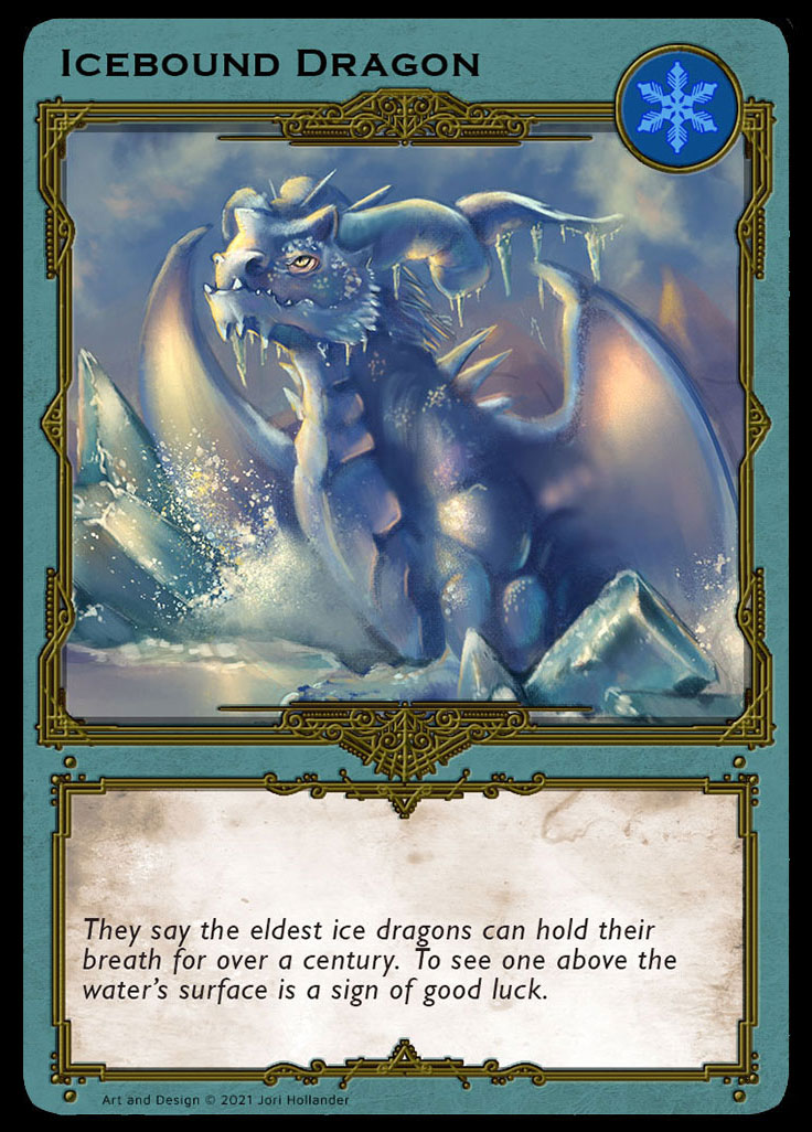 An illustration of a blue dragon breaking through ice.