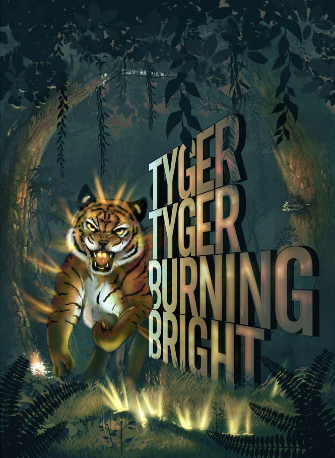 An illustration of a glowing tiger next to the words Tyger Tyger Burning Bright