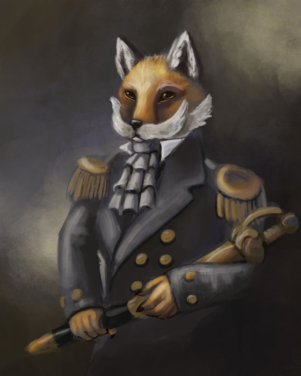 An illustration mimicking classic oil portraits depicting a dapper looking fox with a lare moustache.