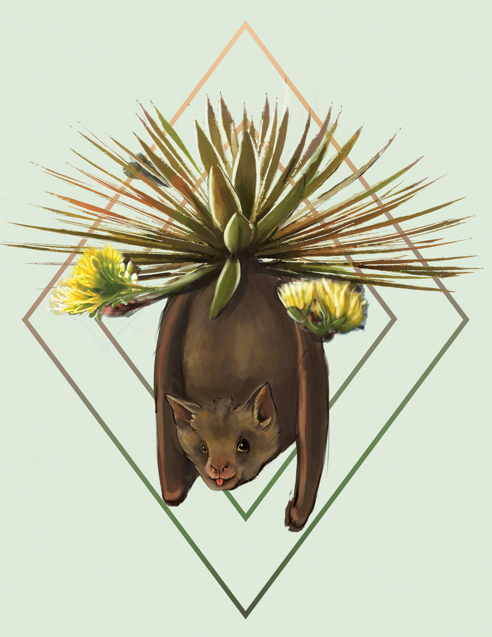 An illustration of a fruit bat with an agave plant.