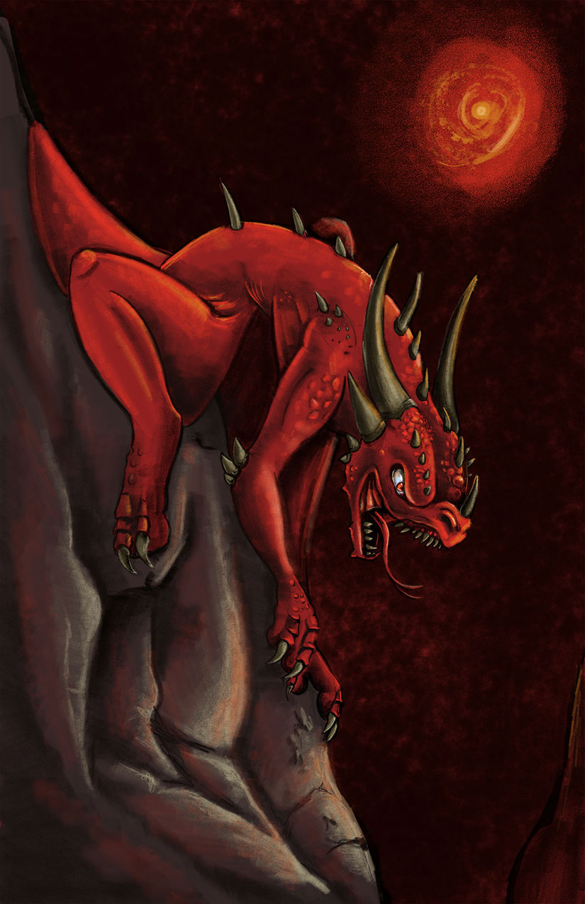An illustration of a red reptile-like creature climbing down a rock face.  A red sun hangs in the background.